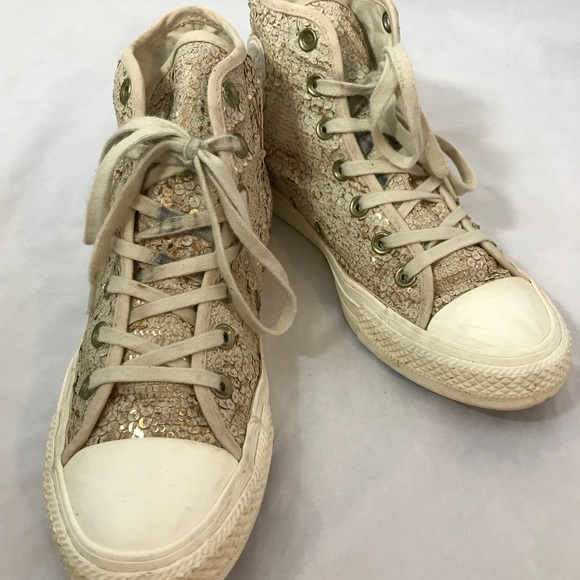 Chuck Gold All 8 Taylor Converse Star Sequins Size m8vn0Nw